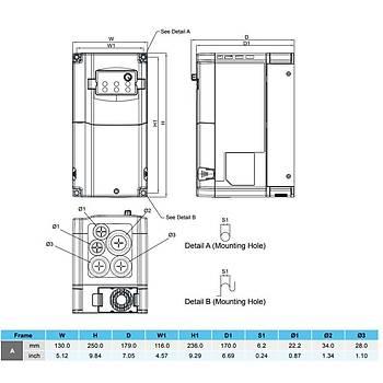 VFD055CB43A-21M 5,5 KW 3/3 Faz Hýz Kontrol Cihazý (Sürücü) DELTA