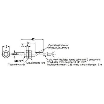 E2B-S08KN04-WP-B1 2M M8 PNP/NO 4mm Algýlama Ýndüktif Sensör OMRON