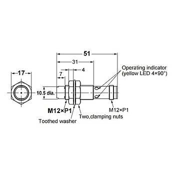 E2B-M12KN08-M1-B1 M12 PNP/NO 8mm Algılama M12 Konnektörlü İndüktif Sensör OMRON