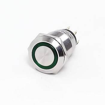 19mm 220V Yeþil Iþýklý Kalýcý Metal Buton IP67 J19-372-GD2 BUTTO
