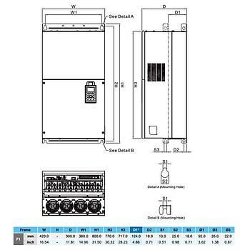 VFD1600C43A 160 KW 3/3 Faz Hýz Kontrol Cihazý (Sürücü) DELTA