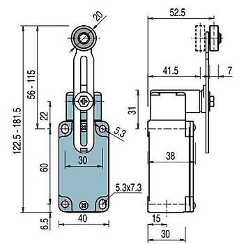 FD 535 Ayarlanabilir Metal Kollu Makaralý Limit Switch PIZZATO