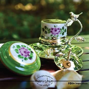 Gümüş Kaplama Kuşlu Fincan - Pembe Çiçekli