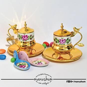 Altın Kaplama Kuşlu Fincan - Pembe Çiçekli