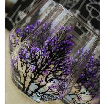 Mor Çiçekli Cam Bardaklar