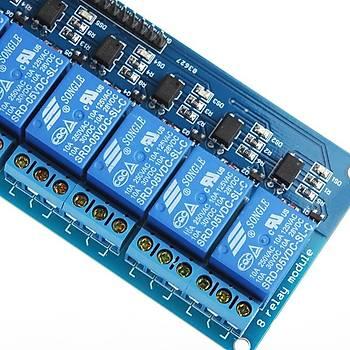8 Kanal LED Göstergeli Opto-izalasyonlu 5V Röle Kartý