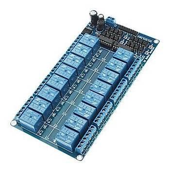 16 Kanal LED Göstergeli Opto-izalasyonlu 5V Röle Kartý