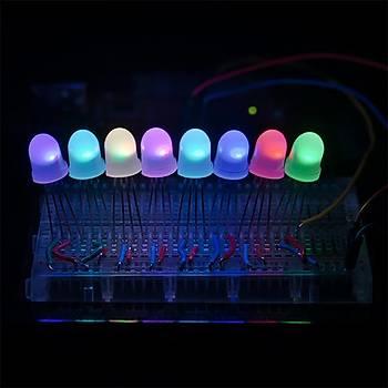8mm RGB LED Adreslenebilir, PTH, Diffused