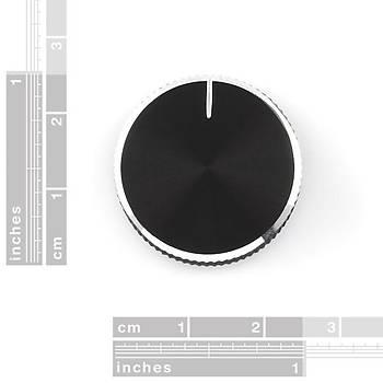 Potansiyometre Düðmesi - Siyah Metal - 14x24mm