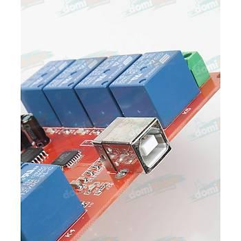 8 Kanal Bilgisayar Destekli 12V Röle Kontrol Modülü ( Bilgisayar Kontrollü Anahtar)