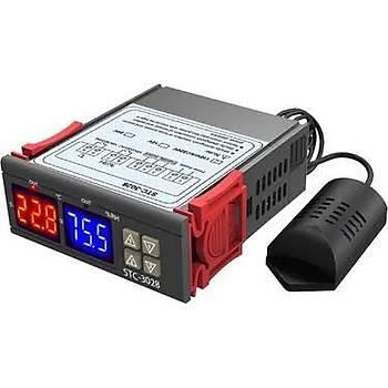 STC-3028 AC 110-220V LCD Ekranlý Nem Sýcaklýk Kontrol Modülü