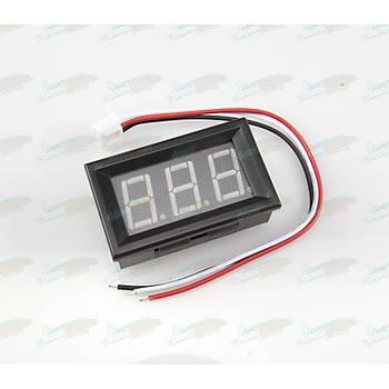 Dijital Panel Voltmetre H27V3 DC 4-100V - Mavi - 3telli