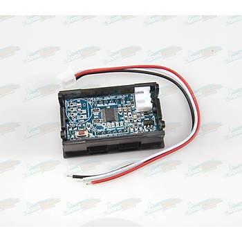 Dijital Panel Voltmetre H27V3 DC 4-100V - Kýrmýzý - 3telli