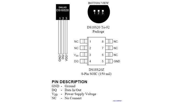 DS18S20 Yüksek Hassasiyetli 1-Wire Dijital Sýcaklýk Sensörü