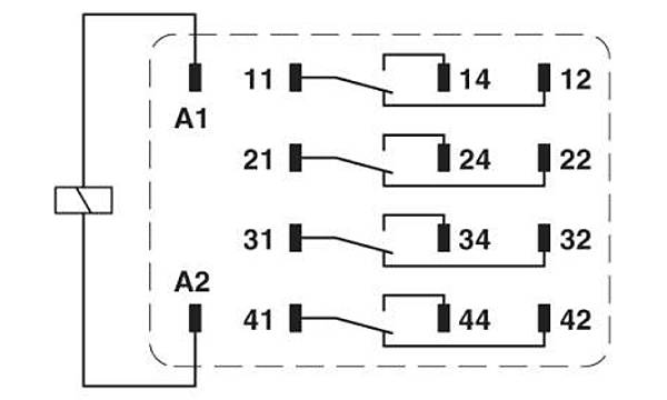 Tek röle - REL-IR4/LDP- 24DC/4X21