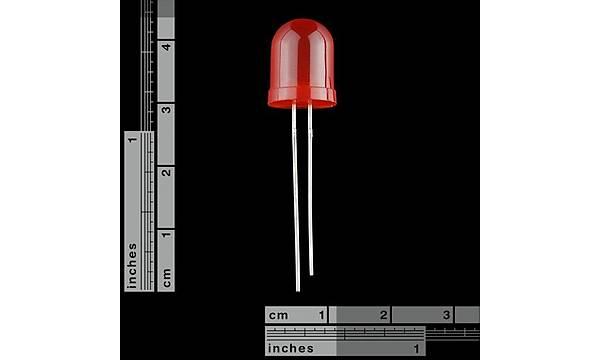 10mm Kýrmýzý LED - Diffused