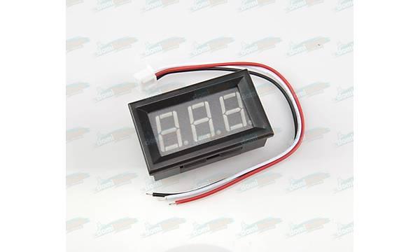 Dijital Panel Voltmetre H27V3 DC 0-30V - Mavi 3 Telli