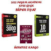 Pegem Akademi 2022 Kpss GyGK 3000 Soru Bankasý+Pegem Kpss GyGK10 Deneme+Paragraf Seti