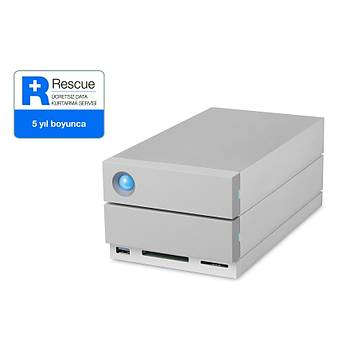 8TB LACIE 3.5 INC STGB8000400 2BIG DOCK STATION 2X THUNDERBOLT3 + USB 3.1 RAID 0/1 HARÝCÝ DÝSK, 5 YIL DATA KURTARMA SERVÝSÝ