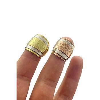 Gold Çekiç Dövme Tasarým Kadýn Ayarlanabilir Otantik Yüzük