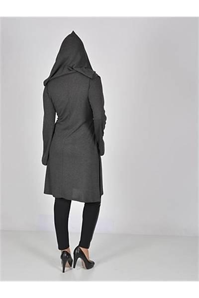 Nidya Moda Gri  Kapþonlu Tunik-1016AÇG
