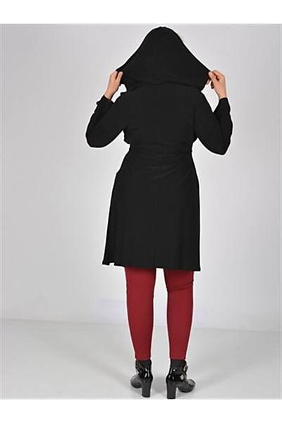 Nidya Moda Siyah Kapþonlu Sandy Ceket-1016ASS