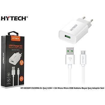 Hytech HY-XE26M 2100MA Ev Þarj 11W + 2A Micro Micro USB Kablolu Þarj Adaptör Seti Beyaz