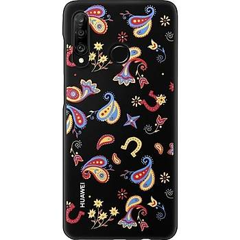 Huawei P30 Lite Colorful Arka Kapak - Çiçekli Siyah (Huawei TR Garantili)