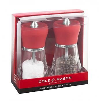 Cole & Mason H304318H Napoli Red 120mm Tuz&Biber Deðirmeni Seti