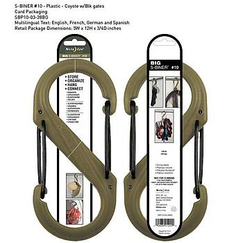 Nite-ize S-Biner Plastik size 10 Coyote/Blk Gate