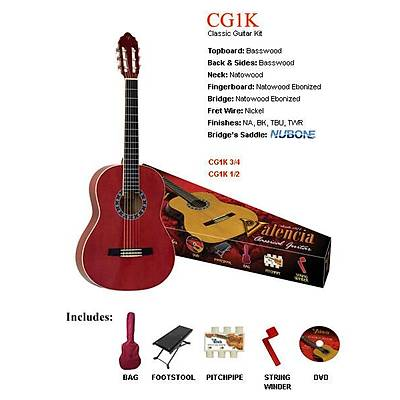 Valencia CG1KTWR Tam Boy Klasik Gitar Seti