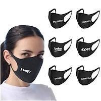 Maske Promosyon Baskýlý Toptan Siyah Kumaþ Maske