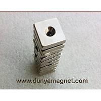 En 20mm X Boy 20mm X Delik çap 10/5,5 X Kalýnlýk 5 mm Havþa Delikli Neodyum Mýknatýs