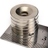 Çap 20mm X Delik çap 10/5,5 X Kalýnlýk 5mm Havþa Delikli Neodyum Mýknatýs