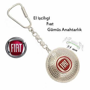 925 Ayar Gümüş Telkari El İşçiliği Fiat Anahtarlık