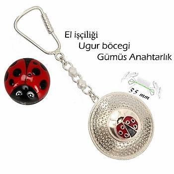 925 Ayar Gümüş Telkari El İşçiliği Uğur Böceği Anahtarlık