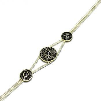 Siyah Mineli 925 Ayar Mardin Hasırı Gümüş Bileklik