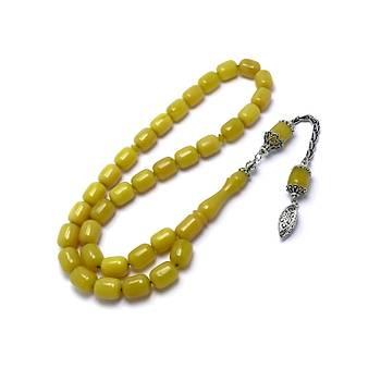 Sarı Hareli Kapsül Kesim Gümüş Püskül Sıkma Kehribar Tesbih