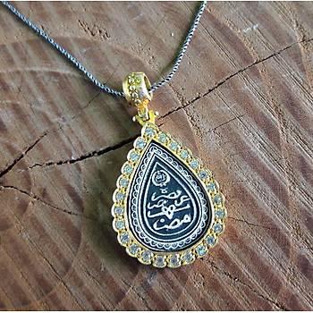 Allah Muhammed Yazýlý Altýn Kaplama Zirkon Taþlý Gümüþ Bayan Otantik Kolye
