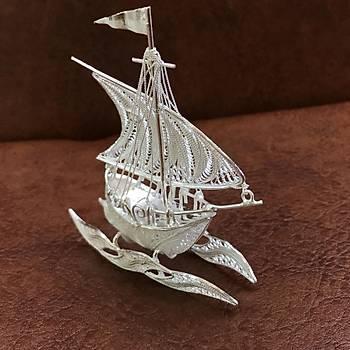 Yelkenli Gemi Model El iþçiliði 925 Ayar Telkari Gümüþ Aksesuar