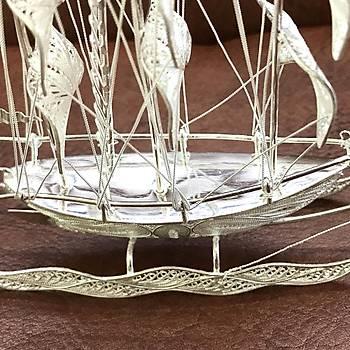 Sancaklý Gemi Model El iþçiliði 925 Ayar Telkari Gümüþ Aksesuar