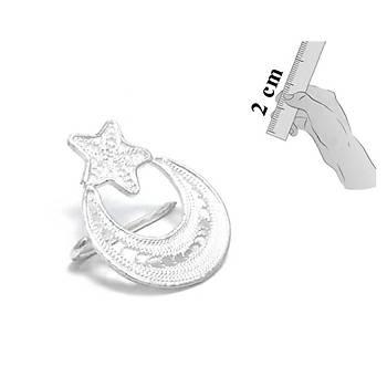 925 Ayar El İşçiliği Ayyıldızlı Telkari Gümüş Broş