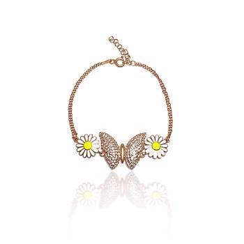 Kelebek Model Rose Kaplama Bayan Gümüþ Bileklik