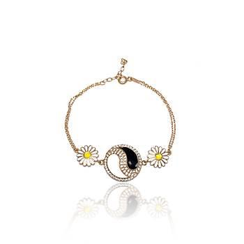 Yin Yang Model Rose Kaplama Bayan Gümüþ Bileklik