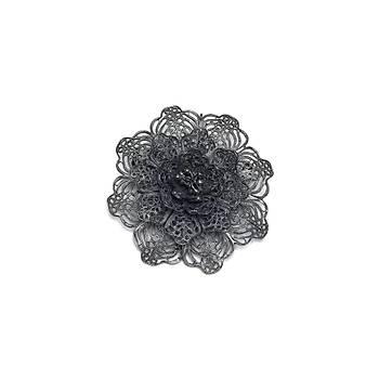 Çiçek Model Oksitli Telkari Bayan Gümüþ Broþ