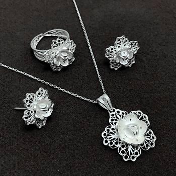 Çiçek Model Telkari Bayan Gümüþ Üçlü Set