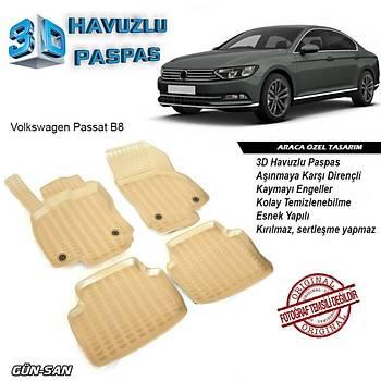 Volkswagen Passat B8 Bej 3D Havuzlu Paspas SÜPER KAMPANYA !!!