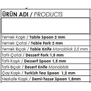 Çaðla Yemek Býçak  12 li Paket
