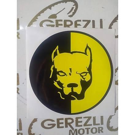 Sarý-Siyah Pitbull Sticker Büyük Boy (15cm x 15cm)