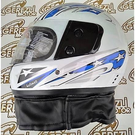 Virtue Çeneli Boyunluklu Mavi-Beyaz Motosiklet Kaský M Beden